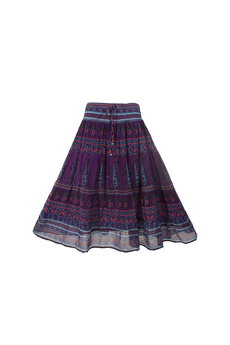 Box Spring Indian Cotton Voile Skirt Lined Hippie Chic In Spring-summer