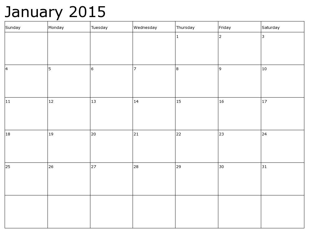 january 2015 calender template - Pinarkubkireklamowe