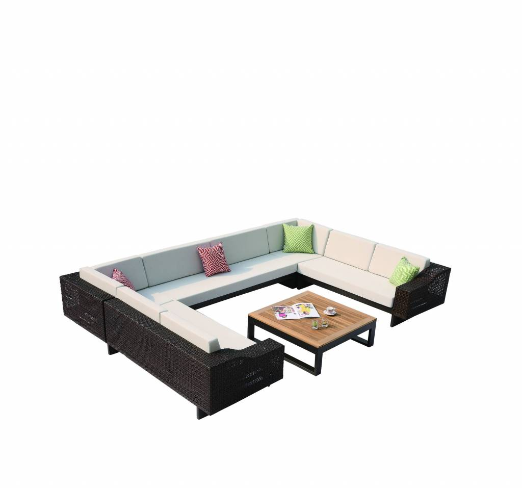 U Sofa Provence Modern Outdoor 8 Seater U Shaped Sofa Set With Square