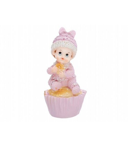 "Baby Deko Rosa Deko-figur ""baby Auf Muffin"" - Rosa 
