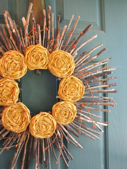 Thanksgiving wreath - yellow fabric roses - organic branches twigs wreath - gorgeous wreath - fall wreath - image via Pinterest