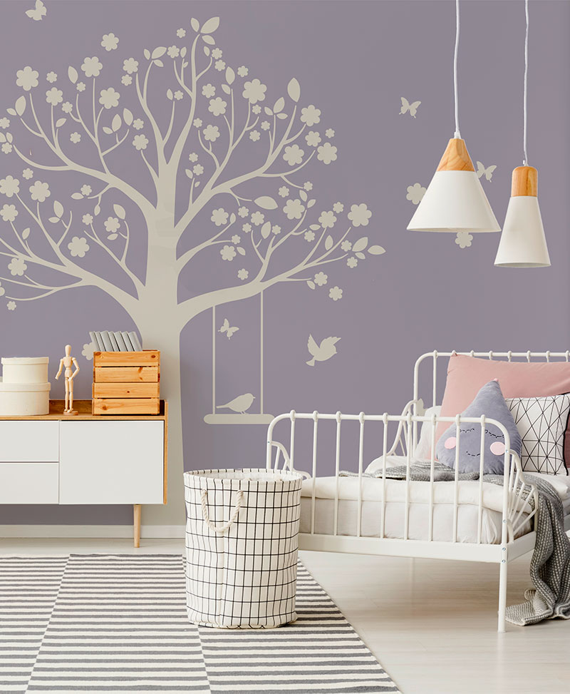 Moritz Tree - Light - Baby Interior Design Wallpaper