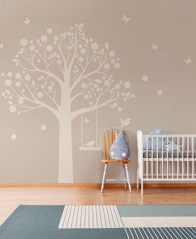 Moritz Tree - Tortora - Baby Interior Design Wallpaper