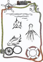 Ausmalbild-Meer-Fische