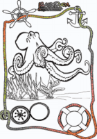 Ausmalbild-Meer-Krake