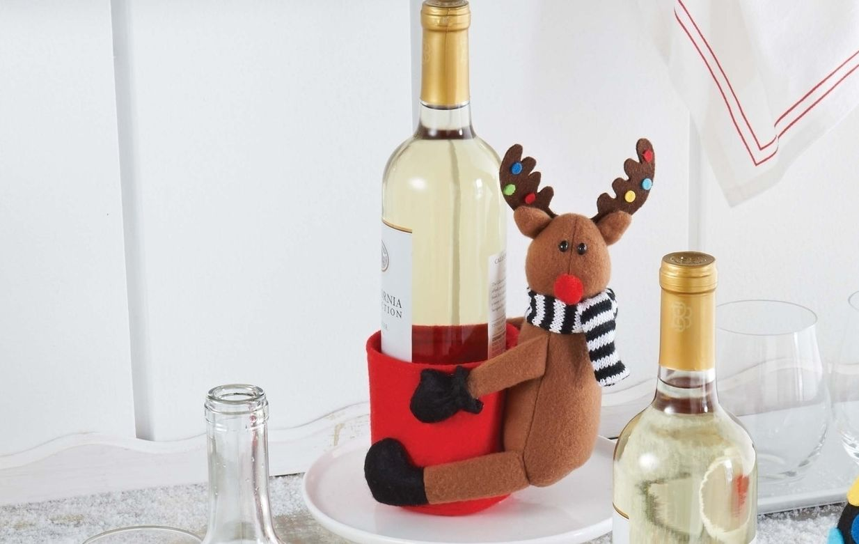 Wine Holders For Gifts Mud Pie Christmas Santa And Co Kitchen Wine Bottle Decor