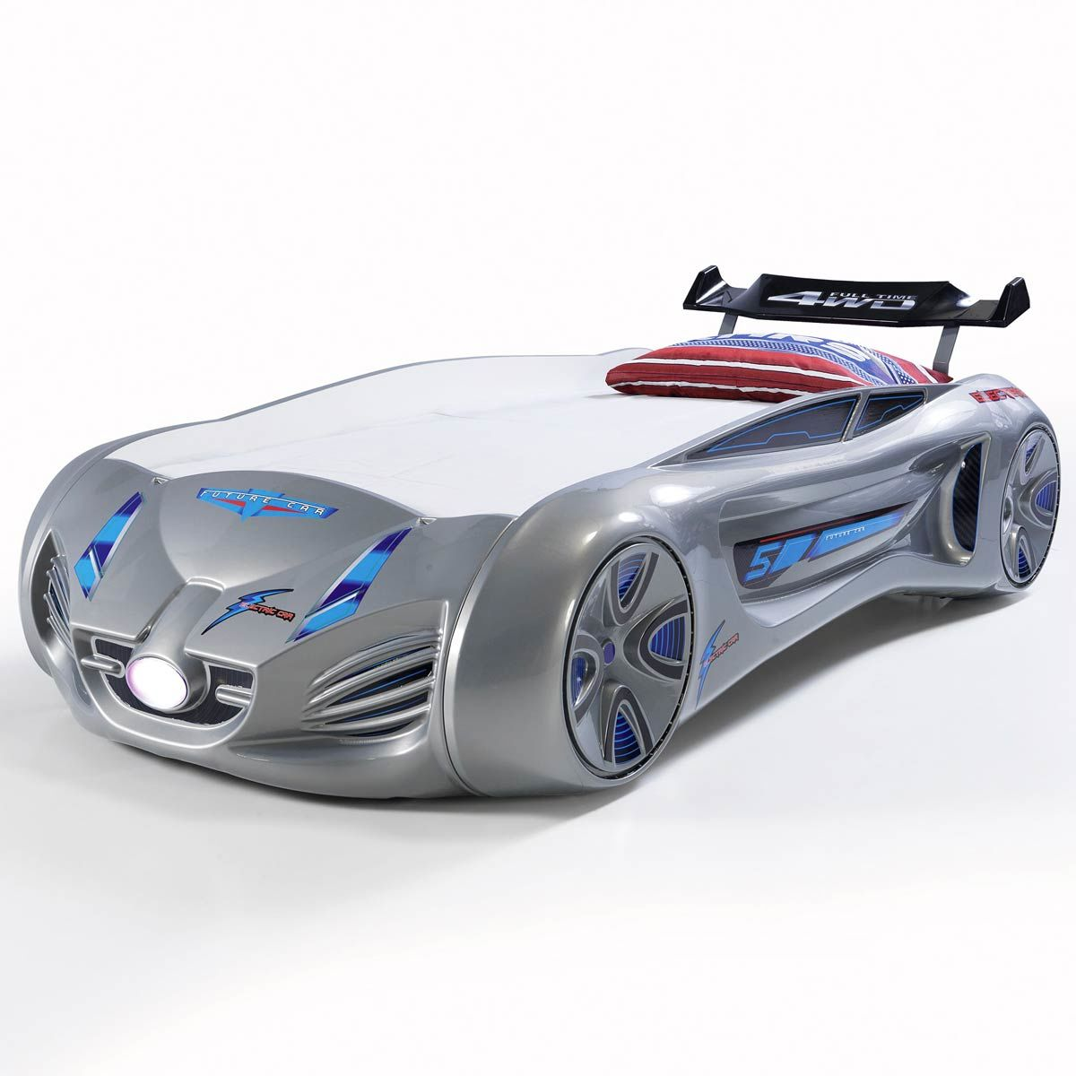 Cars Kinderbett Dreamkid Autobett Kinderbett Silber Future Car Rennauto