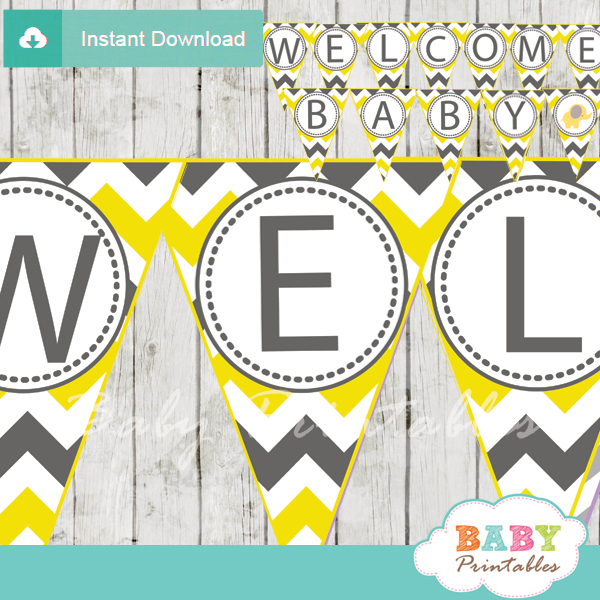 Yellow Elephant Baby Shower Banner - D104 - Baby Printables