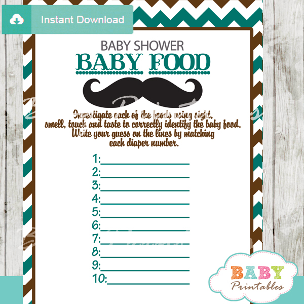 Blue Brown Mustache Baby Shower Games - D115 - Baby Printables