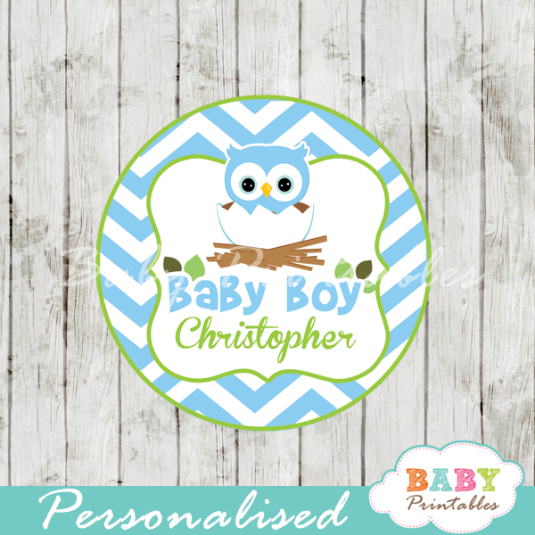Blue Owl Baby Shower Favor Tags - D121 - Baby Printables