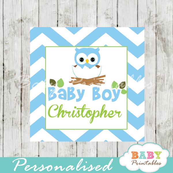 Blue Owl Baby Shower Square Labels - D121 - Baby Printables