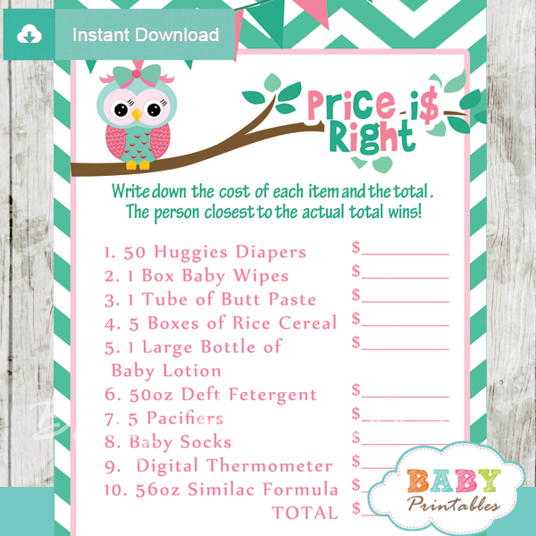 126-Mint-Green-Pink-Owl-Baby-Shower-Games-price-is-right - Baby