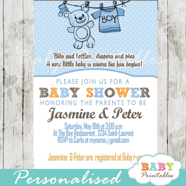 Blue Clothesline Baby Shower Invitation - D151 - Baby Printables