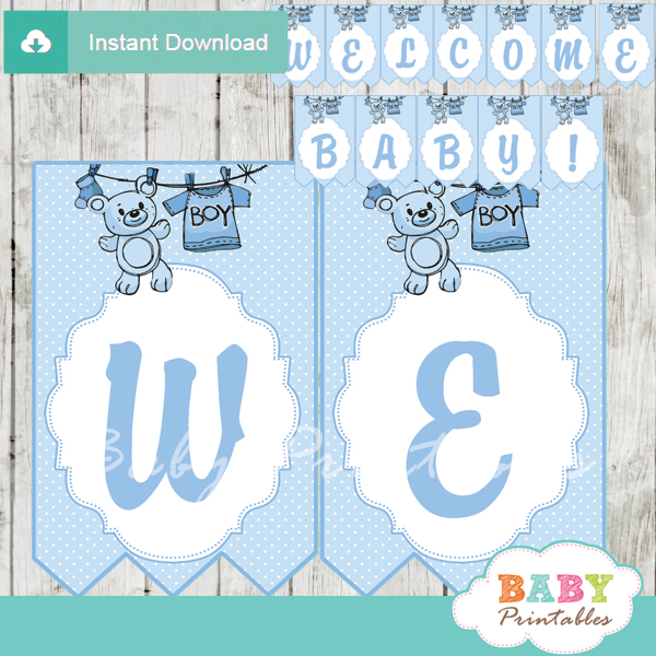 Blue Clothesline Baby Shower Banner - D151 - Baby Printables