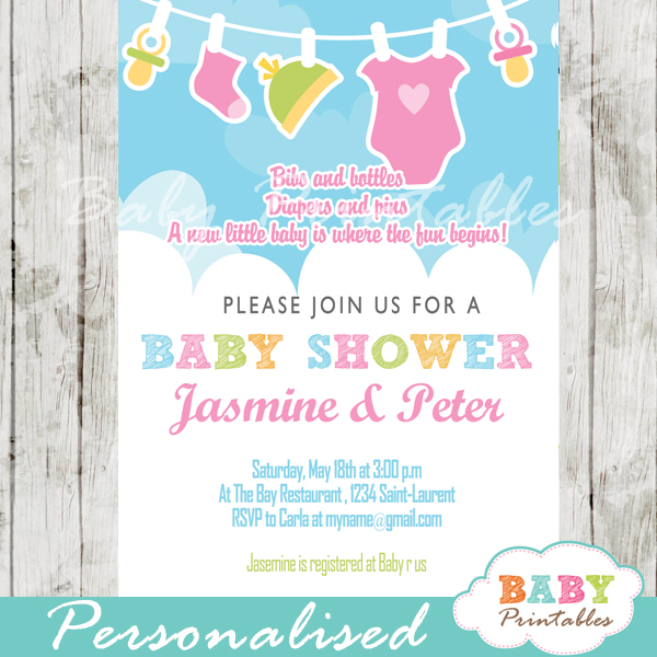 Pink  Green Baby Girl Clothes Baby Shower Invitation - D152 - Baby - baby girl invitation