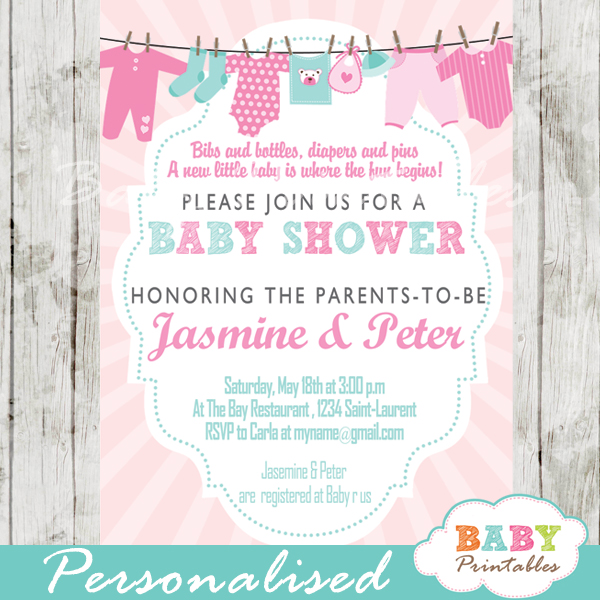 Pink  Tiffany Blue Clothesline Baby Shower Invitation - D153 - Baby