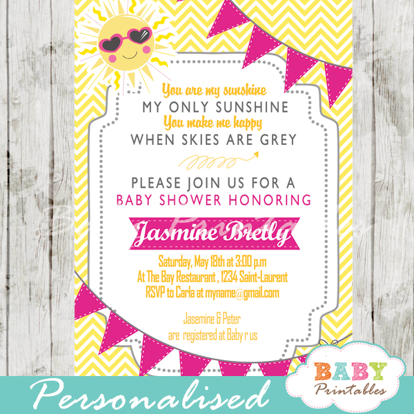 Pink  Yellow You Are My Sunshine Baby Shower Invitation - D161