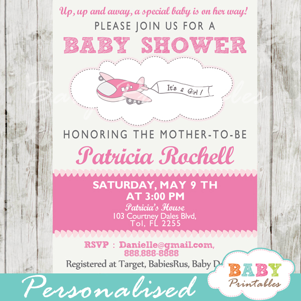 Pink Airplane Baby Shower Invitation Girls - D166 - Baby Printables