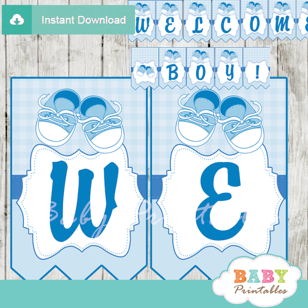Blue Baby Shoes Baby Shower Banner - D171 - Baby Printables