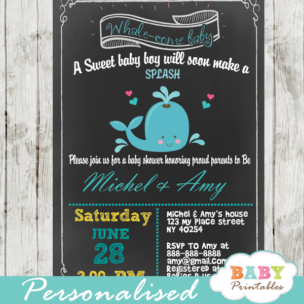 Blue Whale Chalkboard Baby Shower Invitation Boys - D185 - Baby