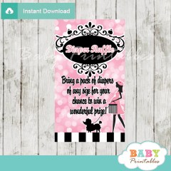 printable french pink paris poodle bokeh diaper raffle game cards baby shower