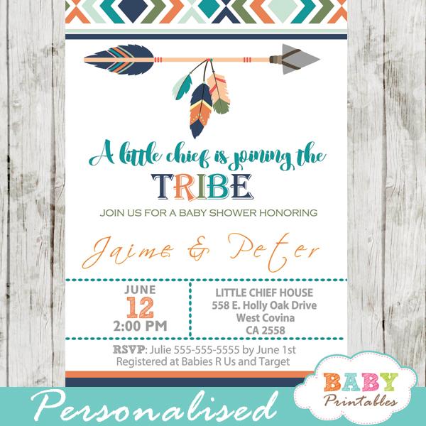 Tribal Baby Shower Invitation for Boys, Boho Arrow - D242 - Baby
