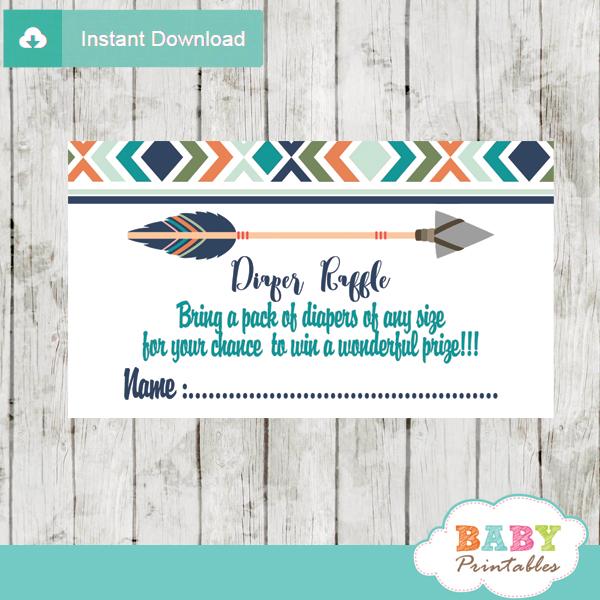 Tribal Diaper Raffle Tickets for Boys, Boho Arrow - D242 - Baby