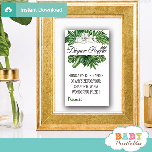 Magnolia Flowers Greenery Diaper Raffle Tickets - D491 - Baby Printables