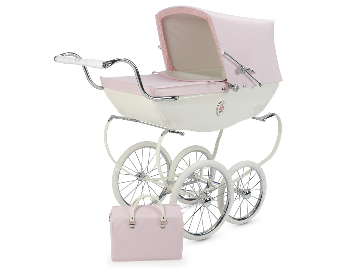 Baby Pram Double Silver Cross Chatsworth Hand Crafted Doll Pram Stroller