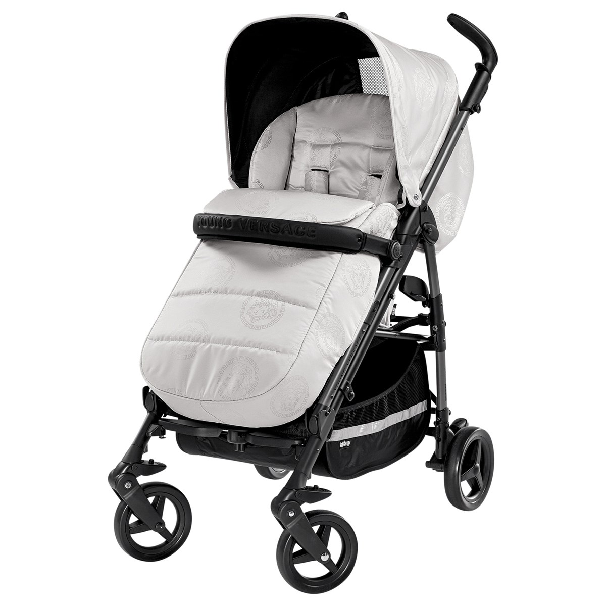 Young Versace Baby White Stroller And Travel Set Versace Jacquard Medusa Stroller Pearl Grey Babyshop