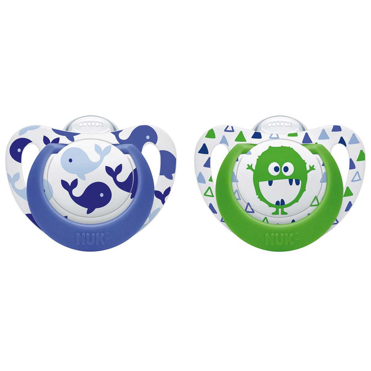 2 Genius Nuk Genius Color Silicone Pacifier 6m Blue Whale Green Monster 2 Pack Babyshop
