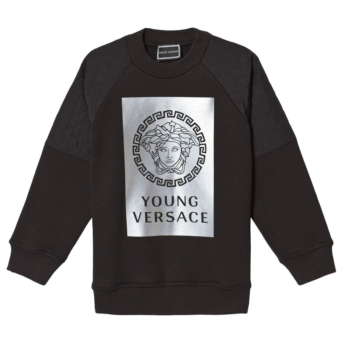 Young Versace Baby White Stroller And Travel Set Versace Black Reflective Medusa Print Sweatshirt