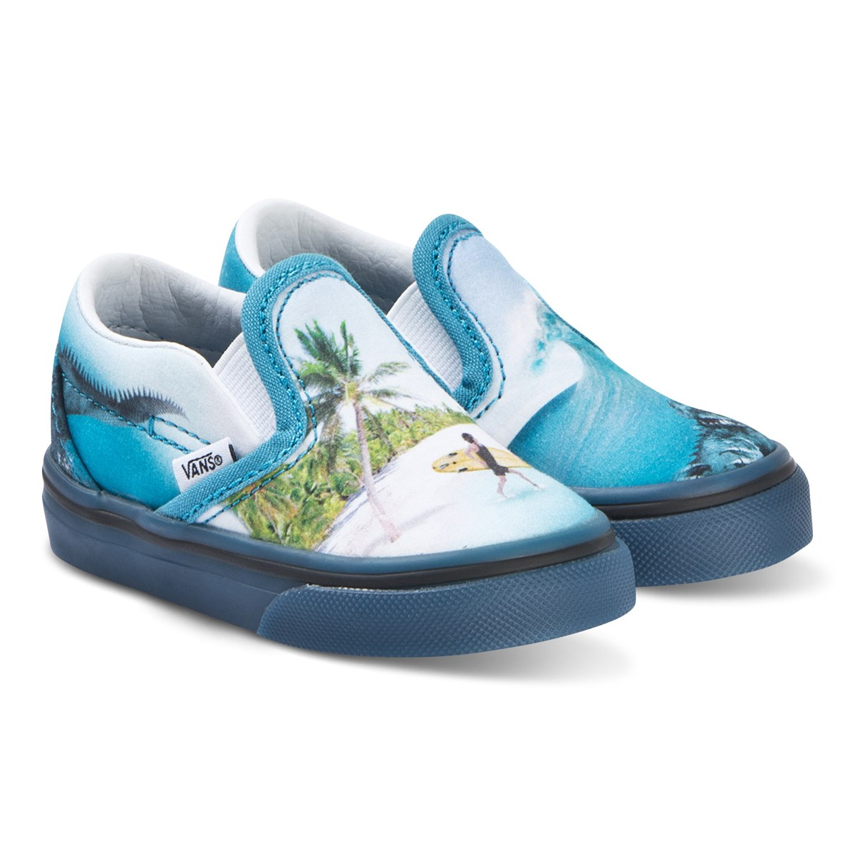 Newborn Shoes Vans Molo Blue Surf Monster Print Vans X Molo Slip On Shoes