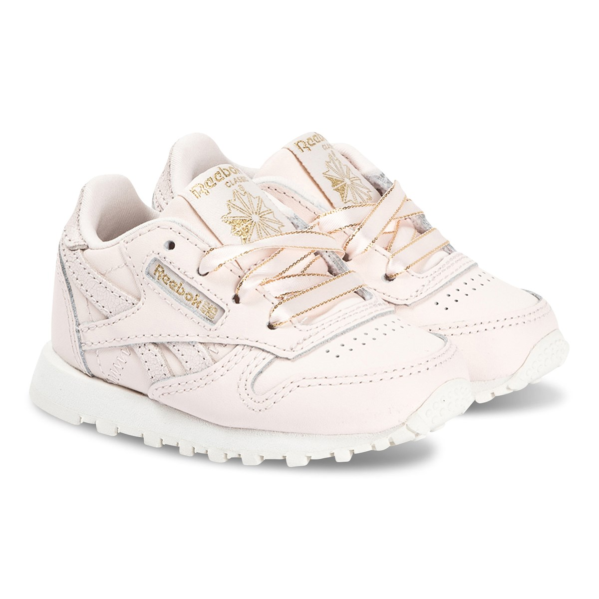 Infant Sneakers Reebok Classic Leather Infant Sneakers Pale Pink And Gold Babyshop