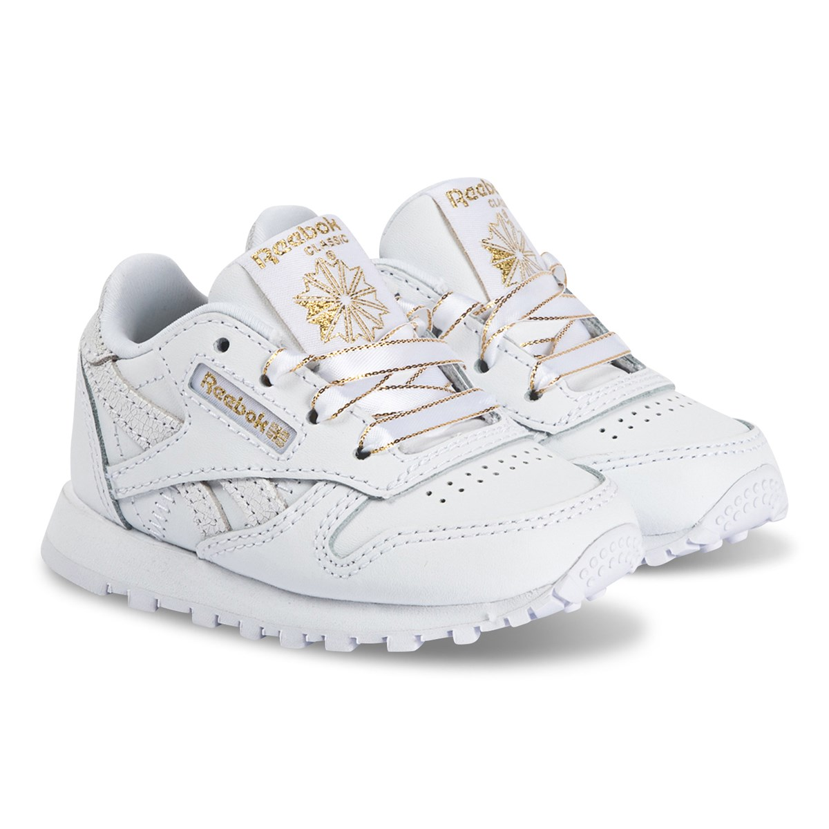 Infant Sneakers Reebok Classic Leather Infant Sneakers White And Gold Babyshop