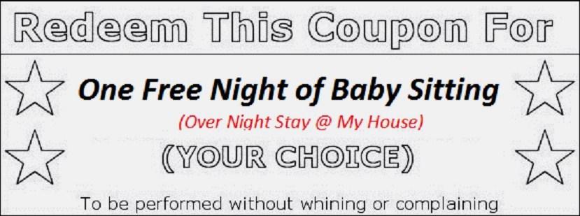 free babysitting gift certificate template - babysitting pass
