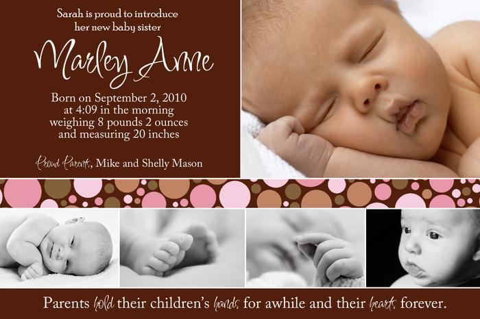 Baby Girl Birth Announcements - Baby Steps Designs - Baby Girl Birth Announcements