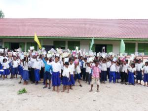 Students outside the Anlong Kraing school