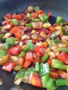 Veggies and bacon