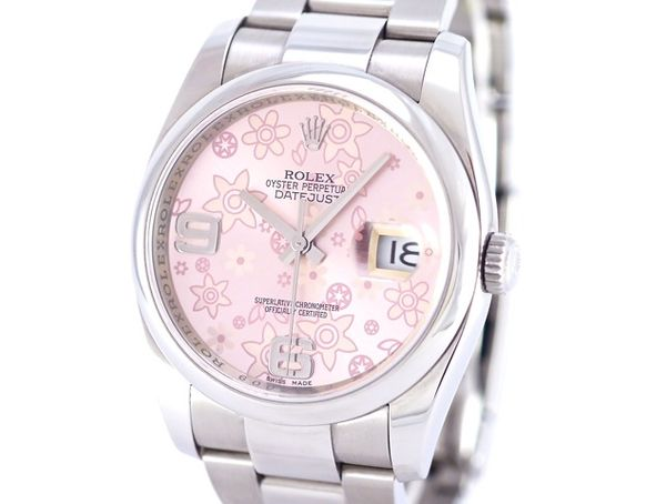 Damenuhr Wasserdicht Rolex Datejust, Ref. 116200, Rose Flower Dial, Stainless