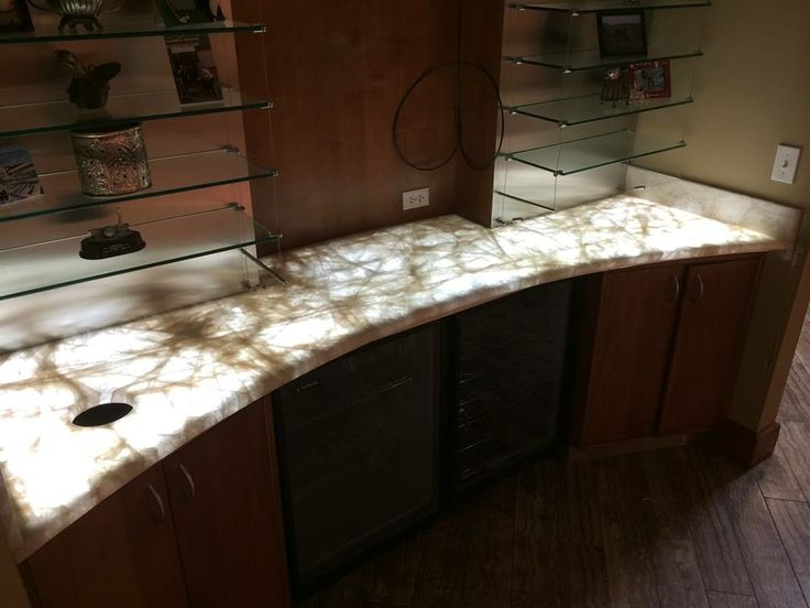 Kitchen With Table Island Chandler Construction Backlit Stone Sample Materials And