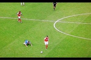 A near-purposeful slip? In a game that encapsulated the flaws of the high line - Gervinho got in behind for the first following Lampard's petulant arguing with the referee, Andre Marriner; Branislav Ivanović and Terry switched off and Bosingwa was badly out of position for the second; the 'far-forward' Terry slipped his positioning for the third; and Florent Malouda's poor backpass allowed Theo Walcott to burst through for the fourth - the flagging John Terry, in an unnatural (roams, rather than stations when going forward) tactical position was about to be seriously out-paced by Arsenal's Robin van Persie in a 3-5 defeat on 29 October
