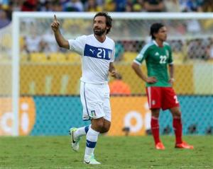 Italy's Pirlo celebrates his free kick goal during their Confederations Cup Group A soccer match against Mexico at the Estadio Maracana in Rio de Janeiro