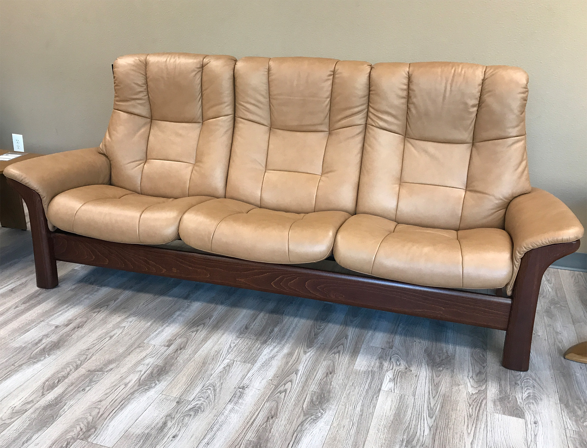 Ekornes Sofa Stressless Buckingham 3 Seat High Back Sofa Paloma Taupe Color Leather By Ekornes