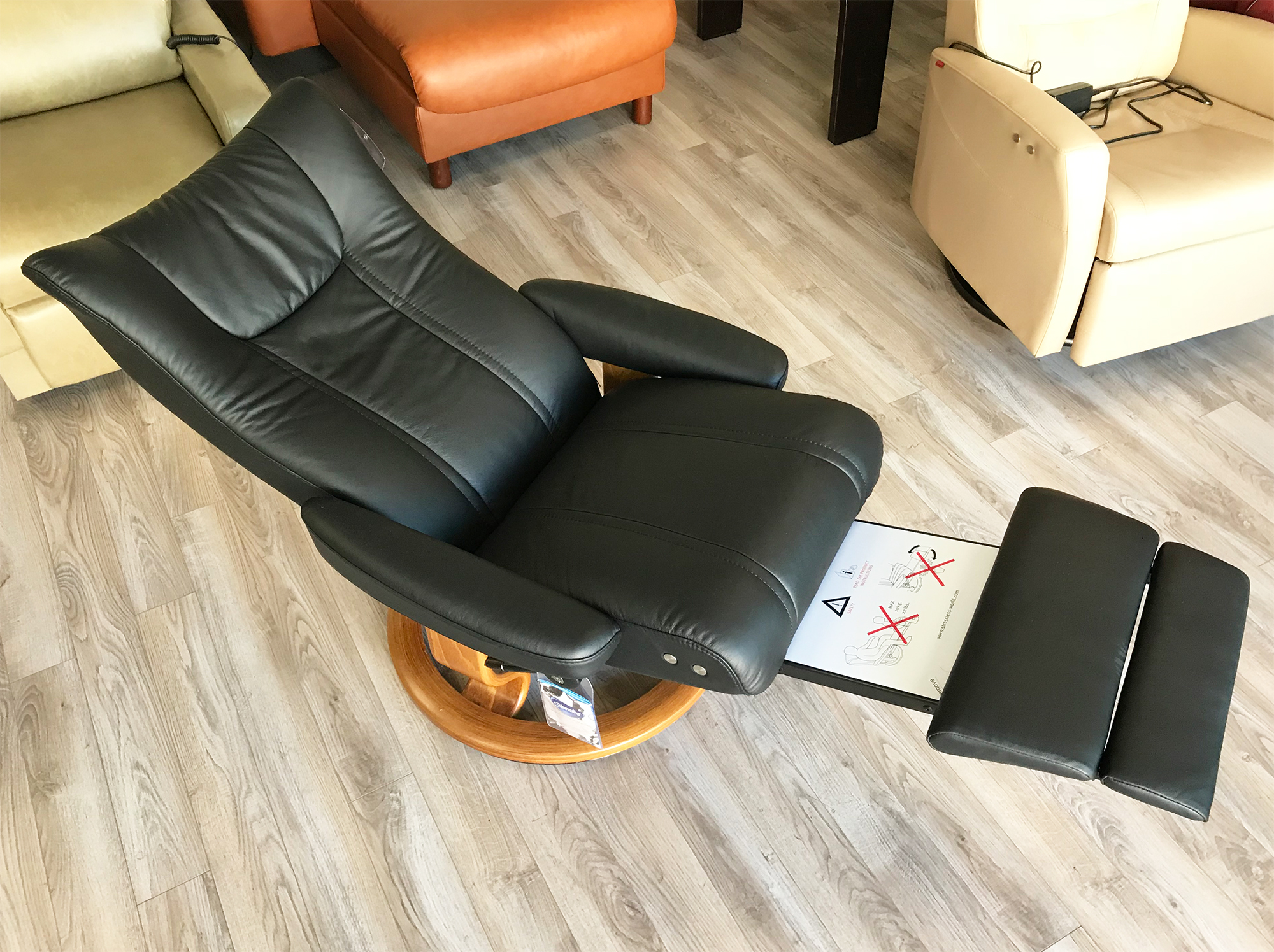 Stressless-world.com Stressless Wing Recliner Chair And Ottoman In Paloma Black Leather By Ekornes
