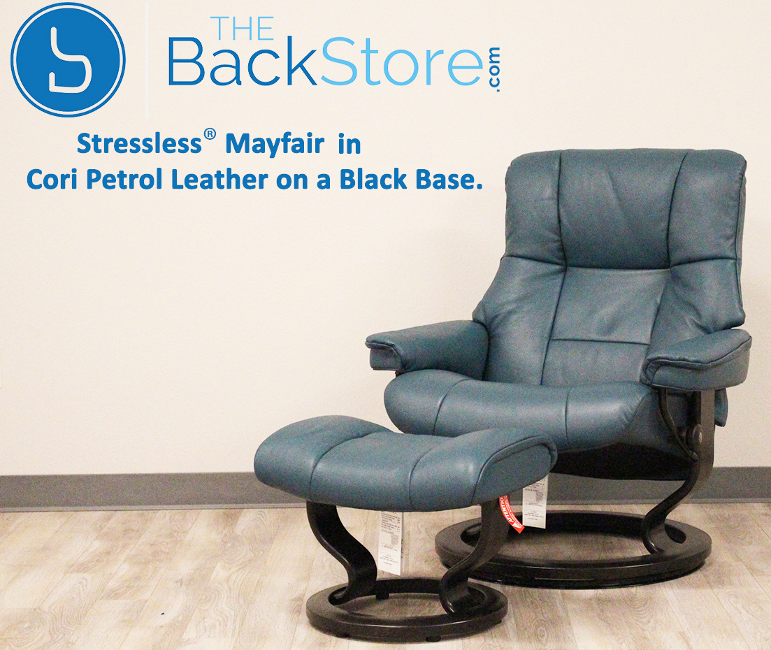 Leather Recliner Chair With Ottoman Stressless Mayfair Cori Petrol Leather Recliner Chair And Ottoman By Ekornes