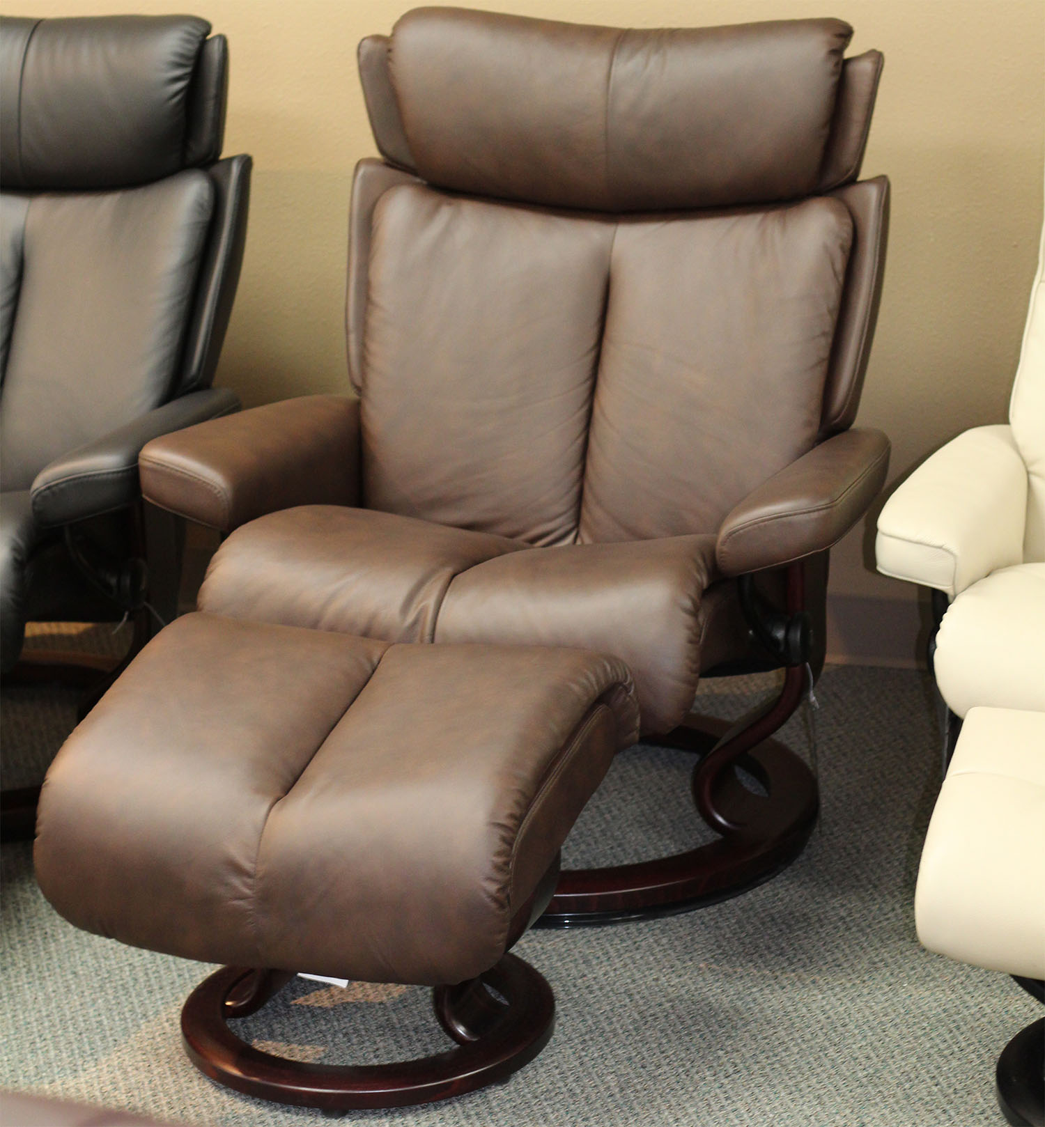 Stresless Stressless Magic Paloma Chocolate Leather Recliner Chair And Ottoman By Ekornes
