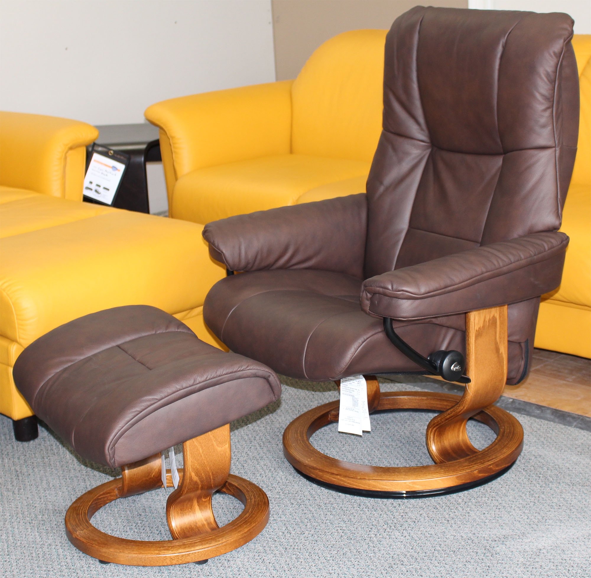 Stressless Paloma Stressless Chelsea Small Mayfair Paloma Chocolate Leather Recliner Chair And Ottoman By Ekornes
