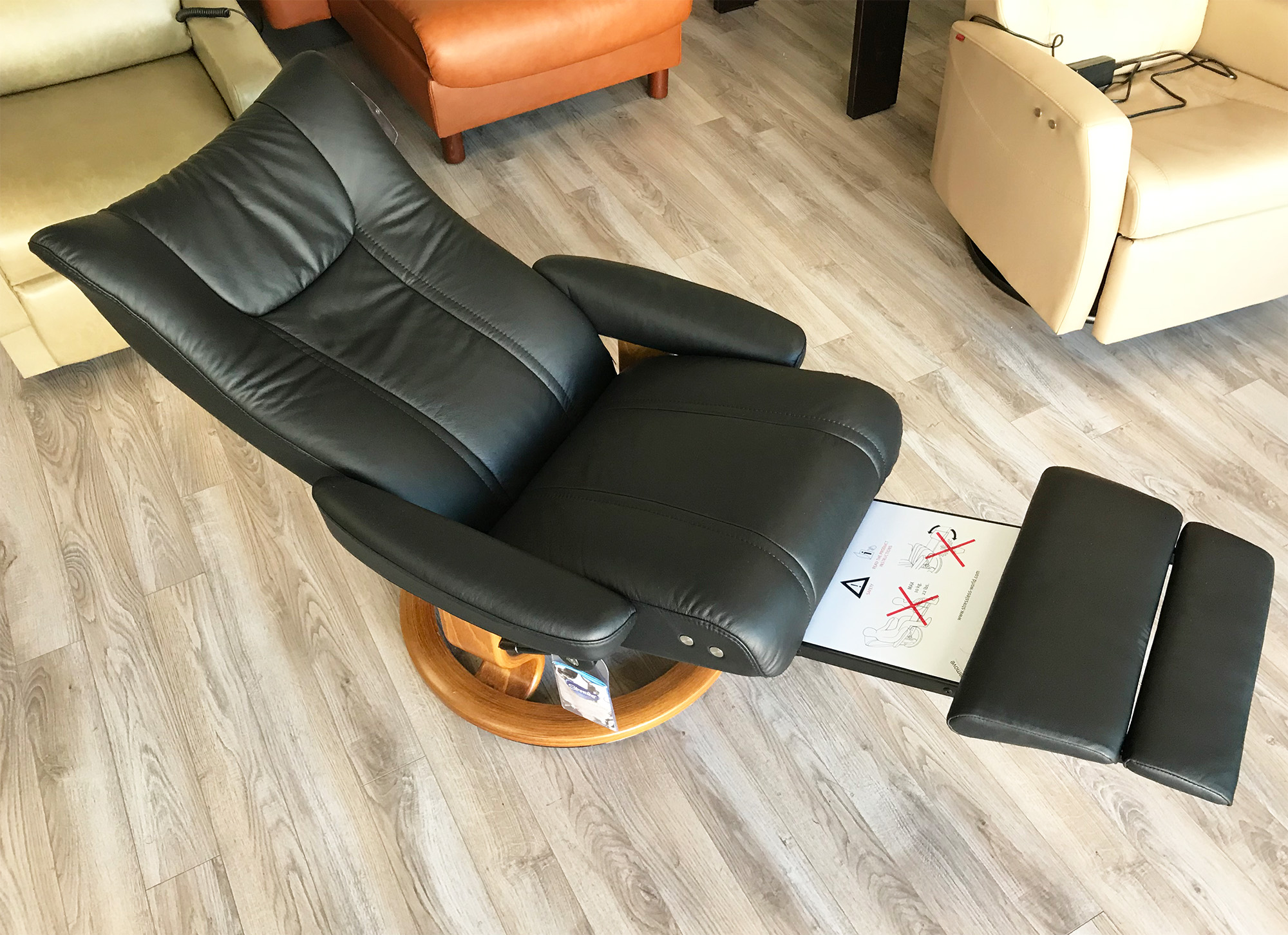 Stressless Nordic Legcomfort Stressless Wing Recliner Chair And Ottoman In Paloma Black Leather By Ekornes