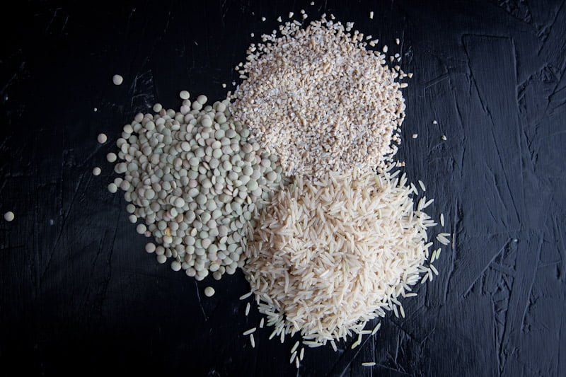 protein powder lentils, grains